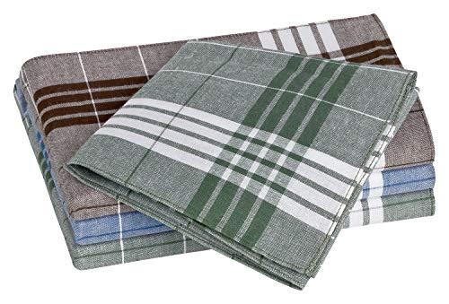 Tobeni 12 Herren Taschentücher Stoff für die Arbeit Arabias Baumwolle Blau Braun Grün 40 x 40 cm