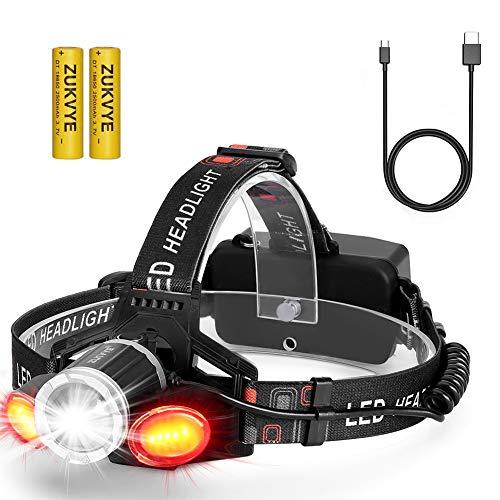 USB Wiederaufladbare LED Stirnlampe, Zukvye Weiß und Rot Light LED Kopflampe, 6000 Lumen