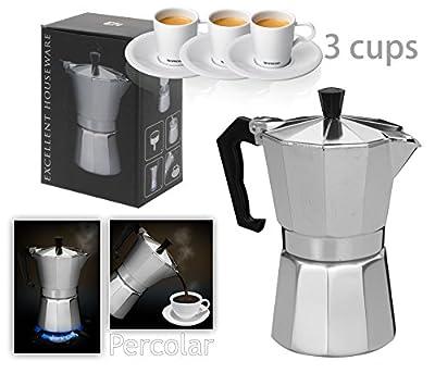 Italian Espresso Latte Cafetiere Coffee Maker 1 Cup 3 Cups 6 Cups Percolator by Innova Brands Ltd.