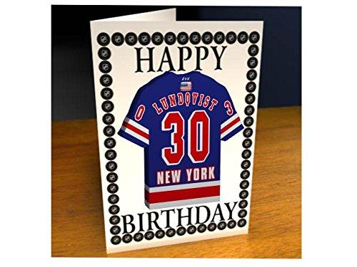NHL Ice Hockey Jersey Kühlschrank Magnet Geburtstag Karten–NHL Eastern Conference–Jeder Name, beliebige, jedes Team., New York Rangers NHL Fridge Magnet Card (Jersey Blau Puck)