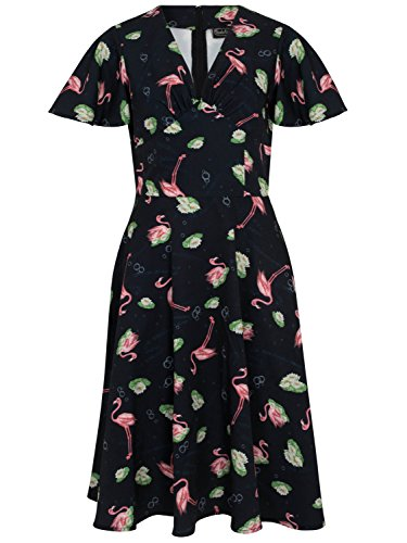 Voodoo Vixen Kleid Lena Flamingo Print Tea Dress 8463 Schwarz XL