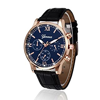 Mens Watches, Kingwo Men's Business Wristwatch Retro Design Leather Band Analog Alloy Quartz Wrist Watch 22CM (E)