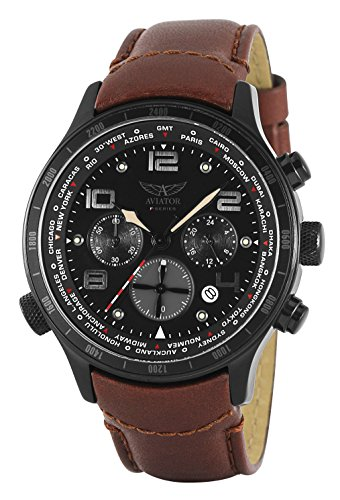 Aviator Reloj de hombre de pulsera con cronógrafo AVW1266G153,piel marrón