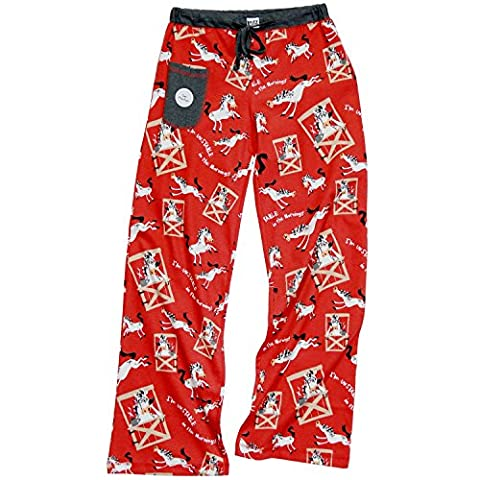 Lazy One WPP731 Women's Unstable Morning Horse Red and Black Cotton Pajama Pyjama Pant 2XL