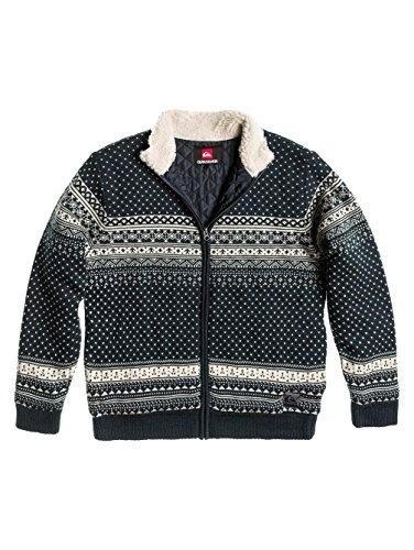 maglione/giacca uomo QUIKSILVER interno imbottito- collo pelo Blu fantasia TG.S