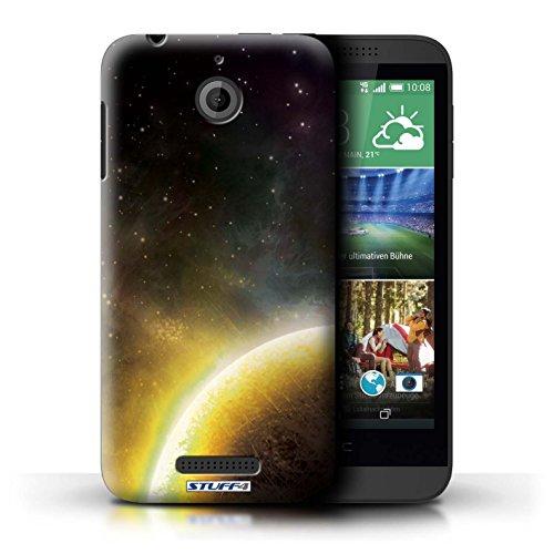 Kobalt® Imprimé Etui / Coque pour HTC Desire 510 / Éclipse Vert conception / Série Cosmos Planète Jaune