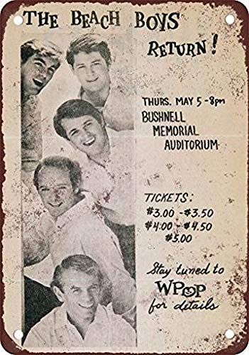 mefoll Wall Art Decor Signs 1964 The Beach Boys in Hartford Connecticut Funny Metal Signs 12x16 Tin Sign Retro Wall Decor Bar Decor by -