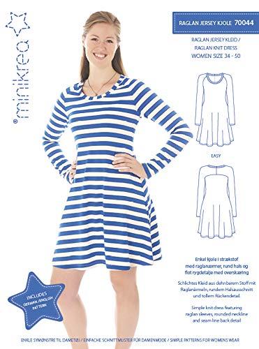 MAGAM-Stoffe Raglan Jersey Kleid Schnittmuster Mädchen und Frauen inkl. Aufnäher Enno -