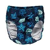 MAXOMORRA Baby Jungen Badehose Blau Deep Sea Tiefsee Badewindel UV-Schutz - Größe: 74/80