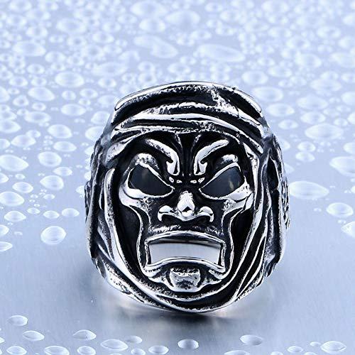 ZUXIANWANG Ring Herren Vintage Ring Held Krieger Maske Ring Mann Edelstahl Titan Stahl Punk Heavy Metall Schmuck, 7.