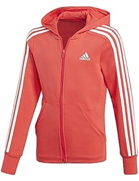 Adidas ragazza 3strisce Full Zip con cappuccio, Bambina, 3-Streifen Full-Zip, Real Coral/White/White, 152
