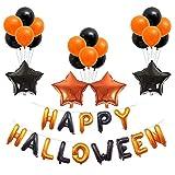 Yaoaomitn Set di Palloncini Halloween Festeggiamenti per Feste Feste Decorazioni Set di Lettere in Palloncino di Alluminio Film Multicolore Tipo D