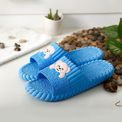 DogHaccd pantofole,Le coppie di pantofole bagno soggiorno casa durante l'estate tra uomini e donne e antiscivolo con piatto di spessore cartoon cool pantofole estate piscina carina ragazza Blu cielo1