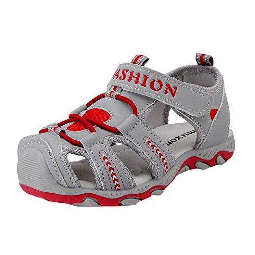 Hmeng Kinder Sport Schuhe Mädchen Jungen Kinderschuhe Sandalen Sommer Turnschuhe mit Klettverschluss (35, Grau)