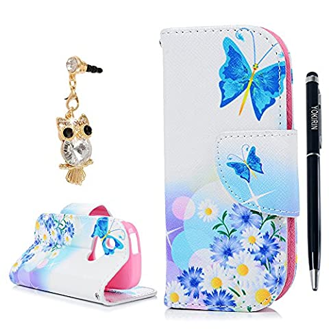 Nokia 3310 Case, YOKIRIN Premium PU Leather Wallet Case Magnetic Closure Folio Flip Slim-Fit Cover Case Cute Patterns Colorful Painted Design Scratch-Resistant Full Body Shell For Nokia 3310 - Butterfly Flower