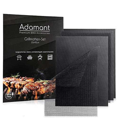 Adamant Premium Grillmatten [5er Set] - BPA frei und Anti-Haft beschichtet - Geeignet für Holzkohle-, Gas- und Elektrogrills sowie Backöfen - Spülmaschinenfest und leicht zu reinigen