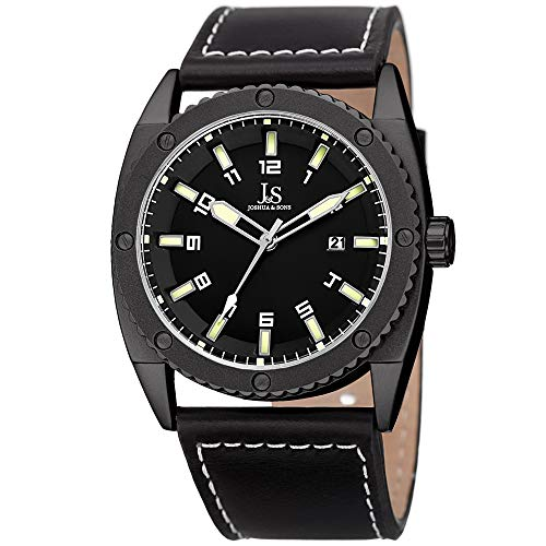 Joshua & Sons - Reloj casual para hombre, esfera negra JX120LM