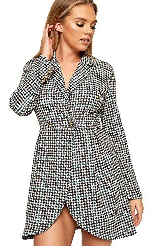 WEARALL - Damen Houndstooth Geprüft Druck Schaltfläche Lang Hülle Jacke Damen Blazer Kleid - Schwarz Grün - 40-42 (Check Houndstooth Jacke)