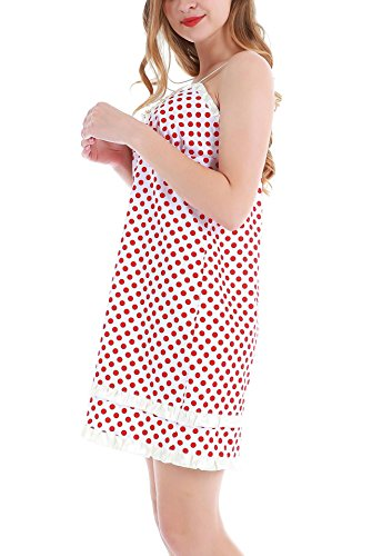Yulee Damen Nachtkleid Muster von Pot aus Baumwolle Weiß