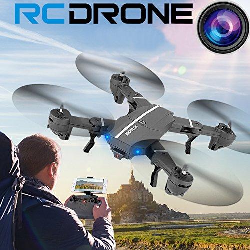 OKPOW - Drones de 2 MP 120° gran angular FPV plegables RC Quadcopter Drone 2,4 GHz 6 ejes Gyro Altitude Hold Quadcopter control remoto selfie Drones con cámara 720P HD