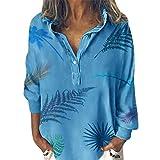 TianWlio Femmes Chemise Grande Taille Manches Longue, Col V Tunique Tops T Shirt Blouse en Boho Ethnique Style Branche Imprimé