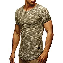 LEIF NELSON -LN6359 - Camiseta de manga corta para hombre caqui L