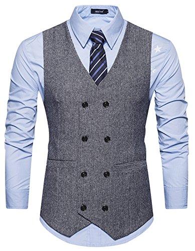 WHATLEES Herren Schmale Tweed Weste aus Strukturiertem Material mit Zweireihige Knopfleiste und strukturierter Tweed B729-Gray-XXL B729-Gray-XXL-new