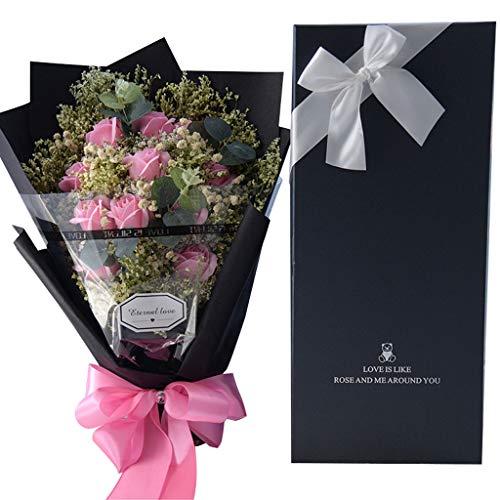 XXDYEE Seifen Blume Rose Gypsophila Geburtstagsgeschenk Bouquet Box Für Freundin (Farbe : Pink)