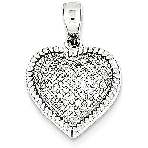 Argento placcato Rhodium del diamante soffiato Pendente Cuore