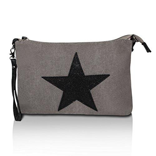 Glamexx24da donna borsa borsa a tracolla Umhaengetasche con stelle marrone