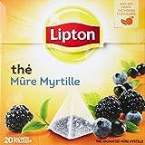 Lipton Thé parfumé mure myrtille 20 sachets - Lot de 3