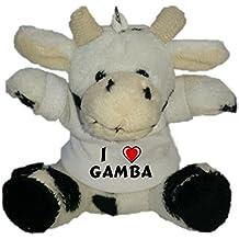 Shopzeus Vaca de Peluche (Llavero) con Amo Gamba en la Camiseta (Nombre de