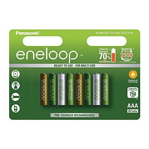 Panasonic eneloop Botanic, Ready-to-Use Ni-MH Akku, AAA Micro, 8er Pack, min. 750 mAh, 2100 Ladezyklen, starke Leistung und geringe Selbstentladung, Limitierte Sonderedition
