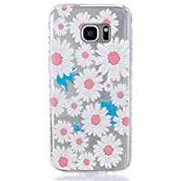 Samsung Galaxy S7 Case [With Tempered Glass Screen Protector],Grandoin(TM) Fashion Flexible Nice Drawing Printed Pattern Bumper Shell Case ,Excellent Quality Soft Silicone Rubber Extra Ultra Slim Thin TPU Colorful Designs Protective Back Cover Case Perfect Fit for Samsung Galaxy S7(Flower2)