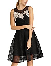 APART Fashion Glamour: Black Meets Champagner with Flowers & Lace, Vestito Donna