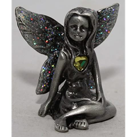 Pewter Birthstone Fairy With Glitter Wings Topaz