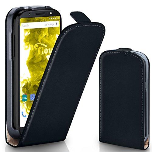 moex Motorola Moto G6 Plus | Hülle Schwarz 360° Klapp-Hülle Etui Thin Handytasche Dünn Handyhülle für Motorola Moto G6 Plus Case Flip Cover Schutzhülle Kunst-Leder Tasche