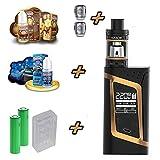 Hochwertiges Steammax by Smok E-Zigarette Komplett XXL Set | Alien 220W | Verdampfer Edelstahl & Glas | Extravagant & mit 1Zoll OLED Display | Inklusive American Stars Liquid - 00 mg - ohne Nikotin
