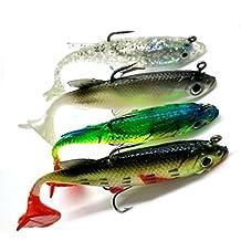 Hrph 4pcs nuevo llegan 8cm 14g cebo suave plomo Cabeza pescado de mar señuelos de pesca de los trastos de Sharp agudos Hook T Tail