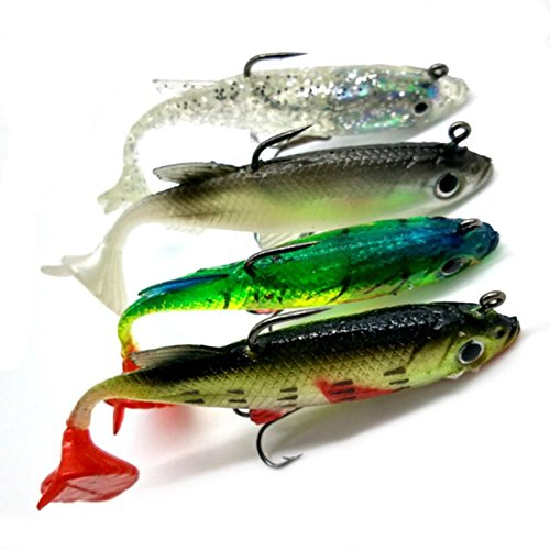 Hrph 4pcs 8cm 14g Soft Bait Lead Head Sea Fish Lures Fishing Tackle Sharp Treble Hook T Tail