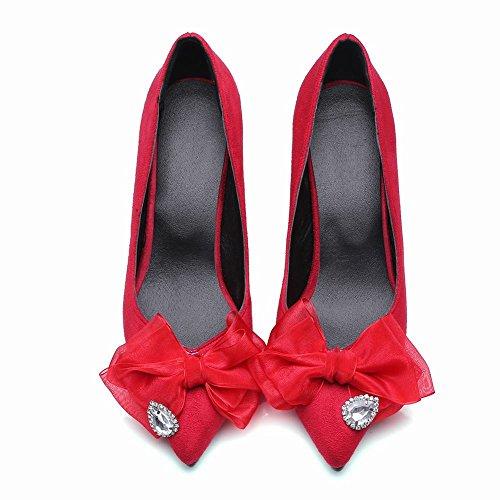 Mee Shoes Damen high heels mit Schleife Nubuck Pumps Rot
