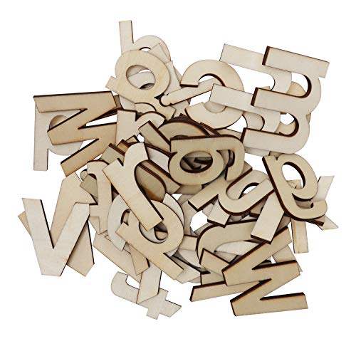 Wooden Letters & Wooden Numbers (124 Pcs) - Set of (A-Z) Capital Letters and Lowercase Letters (52 Each) with 20 Wooden Numbers (0-9) Art Craft DIY Wedding Party Wooden House Display Decorations