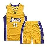 HS-ATI NICE Maglie da Basket per Bambini 24# Kobe Bryant L.A. Lakers Gilet Manica Corta da Ragazzo Vintage Uniform Magliette da Pallacanestro per Bambini,XL:150cm~160cm