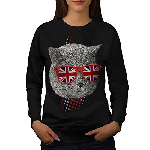 Britanique Cheveux courts Femme S-2XL Sweat-shirt | Wellcoda Noir