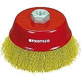 Proteco-Werkzeug® Topfbürste Drahtbürste Flächenbürste 100 mm gewellter Stahldraht vermessingt 0,30 mm Gewinde M14 x 2,0 für Winkelschleifer