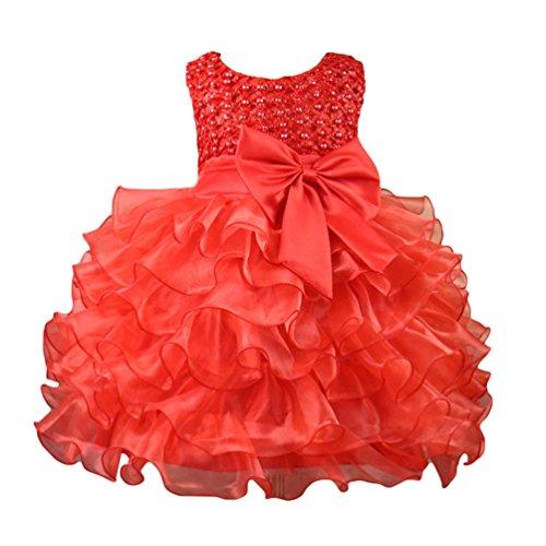 WanYang Bambini Ragazze Vestiti Da Collo Rotondi Senza Maniche Vestiti Principessa Vestito Da Cerimonia Nuziale Damigella D'onore Rosso
