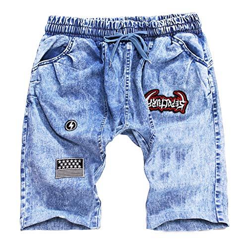 Männer Sommer Kurze Jeans Herren Jean Shorts Skate Board Harem Fashion Jean Summer Fashion Pleated Five Point Denim Shorts Hellblau Dunkelblau M/L/XL/XXL/3xL/4xL Pleated Chino-hose