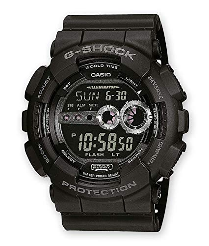 Casio G-Shock Digital Herrenarmbanduhr GD-100 schwarz, 20 BAR - Shock Casio G Uhr