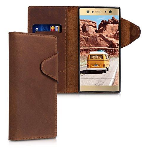 kalibri-Hlle-fr-Sony-Xperia-XA2-Ultra-Echtleder-Wallet-Case-Schutzhlle-mit-Fach-und-Stnder-in-Braun