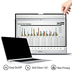 Removable Macbook Privacy Screen Filter for All 15 Inch Apple Mac Models - Pro/Retina/Touchbar - Premium Anti Glare Protector for Data Confidentiality